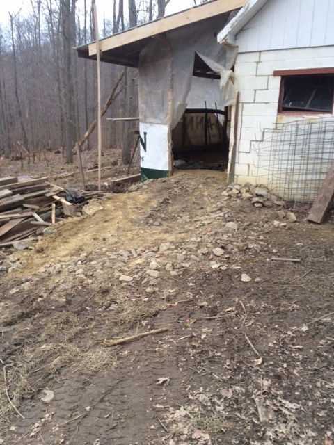 working on the barn