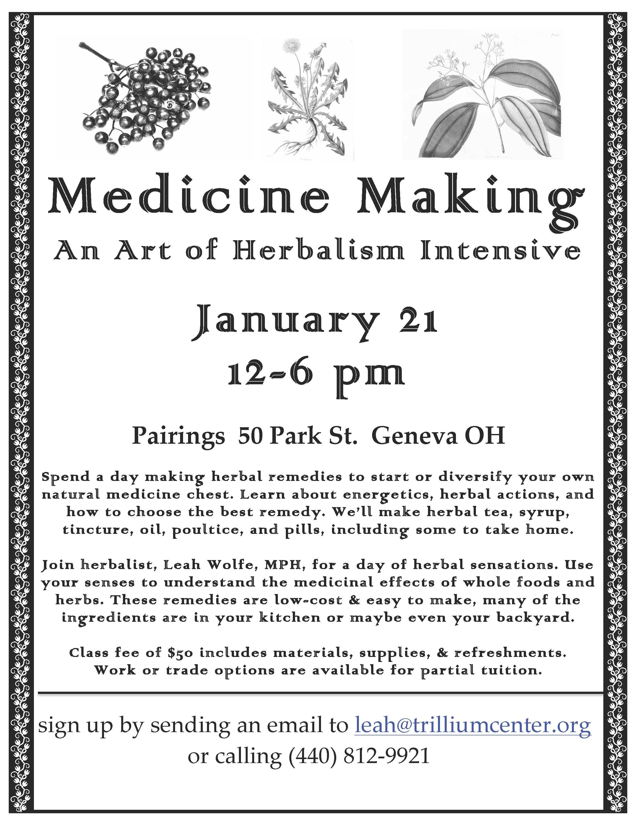 medicine making intensive u2013 jan 21 trillium center